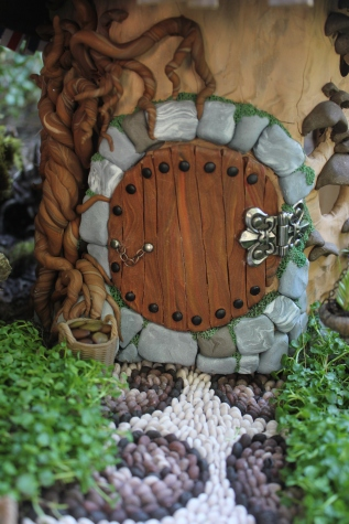 Hobbit house door Fairy house fairy garden miniatures at beneaththeferns.w... #Fairyhouse #fairygarden #miniature #beneaththeferns