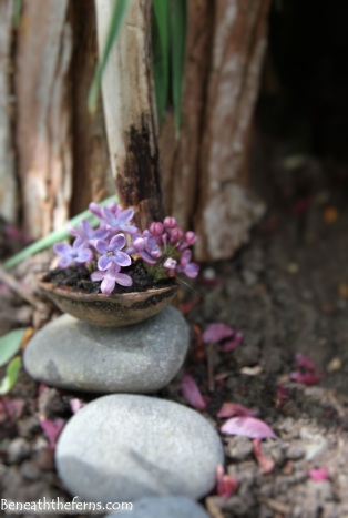 Miniature walnut flower basket for fairy garden