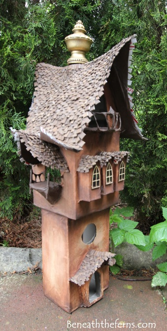 Fairy gardens house miniature scale tower by beneath the ferns three