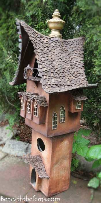 Fairy gardens house miniature scale tower by beneath the ferns