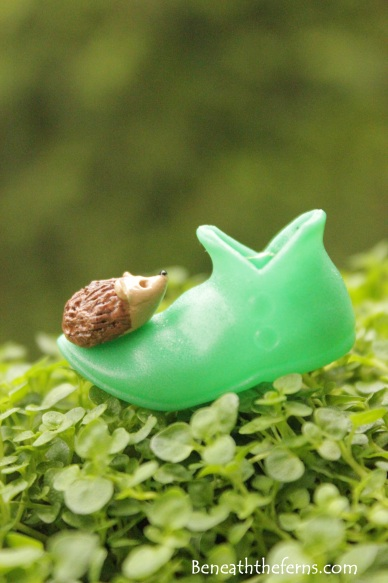 Fairy gardens supplies accessories miniature hedgehog elf shoes beneaththeferns