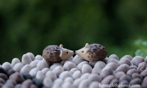 Miniature hedgehog polymer clay fairy garden accessory