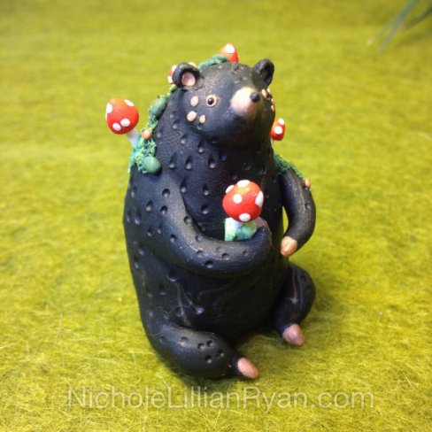 Bear figurine with mushrooms by NicholeLillianRyan