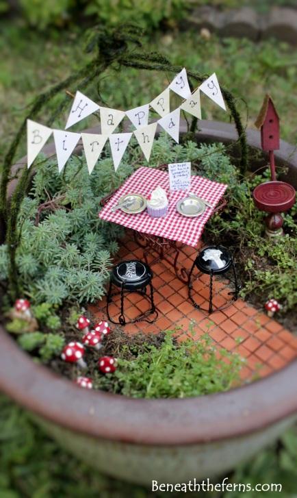 Birthday fairy garden theme with miniature picnic table