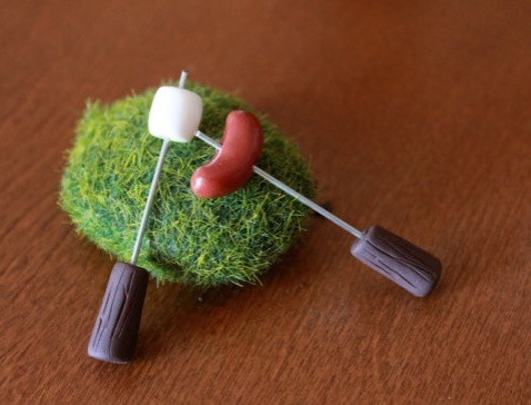 Campfire miniature polymer clay marshmallow and hotdog by Gnome Woods