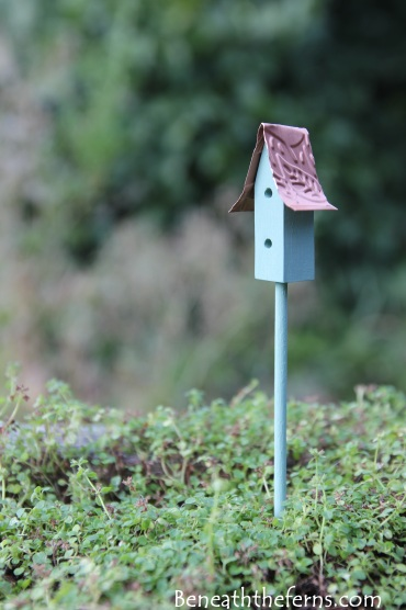 Fairy garden accessories miniature birdhouse green 3