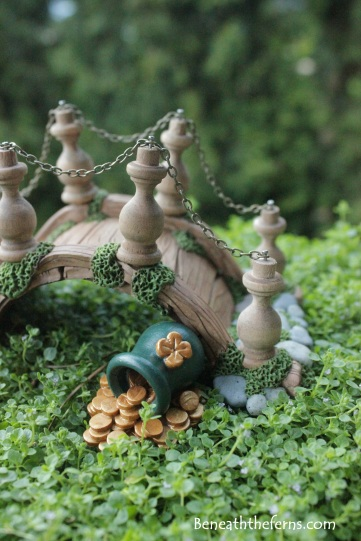 Leprechaun Irish pot of gold miniature fairy garden accessory for St. Patrick's themed fairy garden bridge