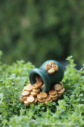 Leprechaun Irish pot of gold miniature fairy garden accessory for St. Patrick's themed fairy garden