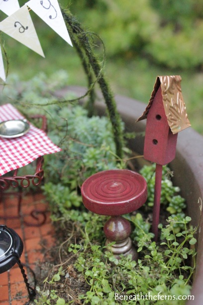 Miniature fairy garden birthday theme bird house