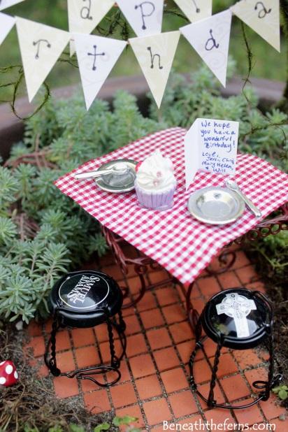 Miniature fairy garden birthday theme pathway from efairies