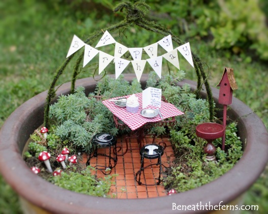 Miniature fairy garden birthday theme picnic table