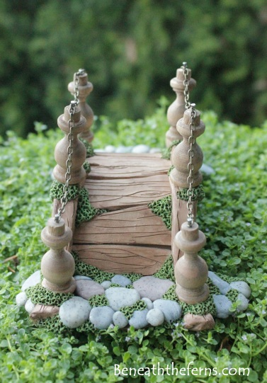 Miniature fairy garden bridge by beneath the ferns front view