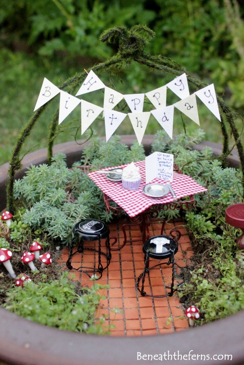 Miniature fairy gardens pathway birthday theme