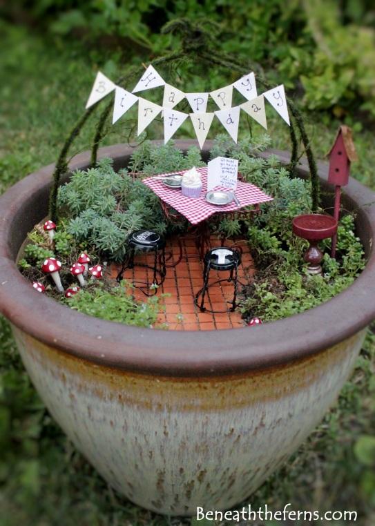 Miniature fairy gardens summer accessories birthday theme