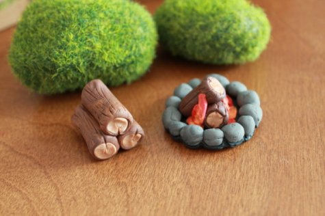 Miniature polymer clay fire by Gnome Woods