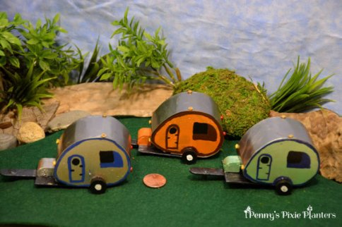 Miniature vintage campers for fairy garden by Pennys Pixie Planters