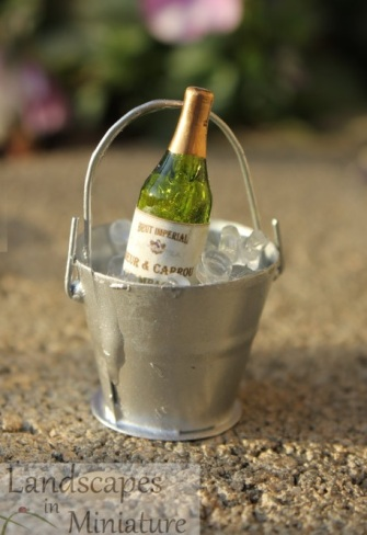 Miniature wine bottle for fairy garden by LandscapesNMiniature