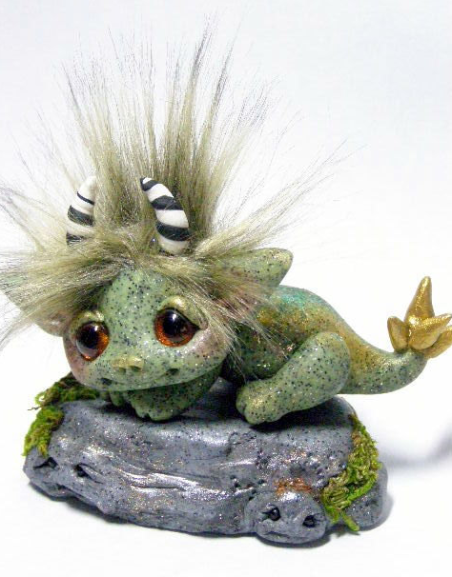 Baby troll sculpture in polymer clay by trollflings