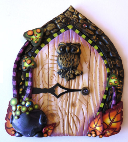 Fairy house door with owl for Halloween by Clay by Kim