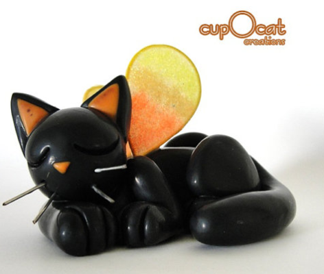 Halloween black cat sculpture by Cup o cat
