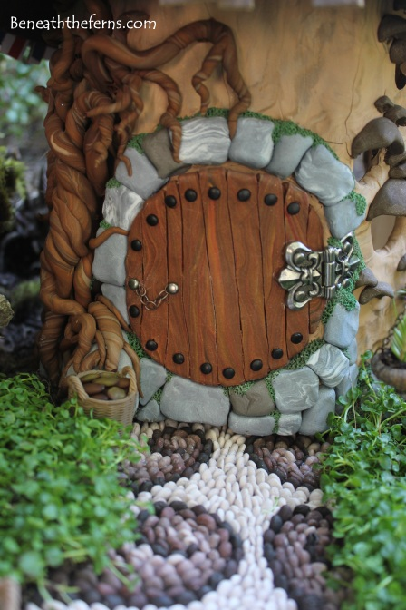 Hobbit house door Fairy house fairy garden miniatures at beneaththeferns.w... #Fairyhouse #fairygarden #miniature #beneaththeferns