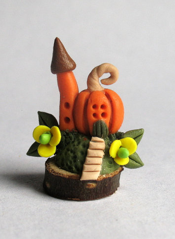 Miniature fairy house in pumpkin by Artistic Spirit