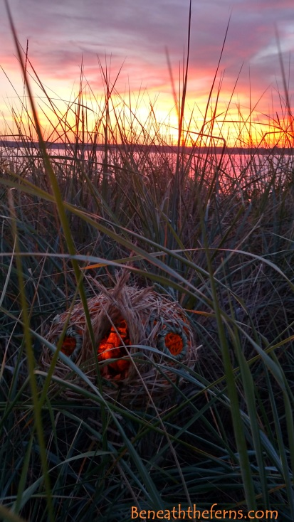 Sunset over fairy house beach fairies sculpture by beneath the ferns