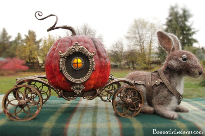Cinderella pumpkin carriage needle felted rabbit by Beneaththeferns