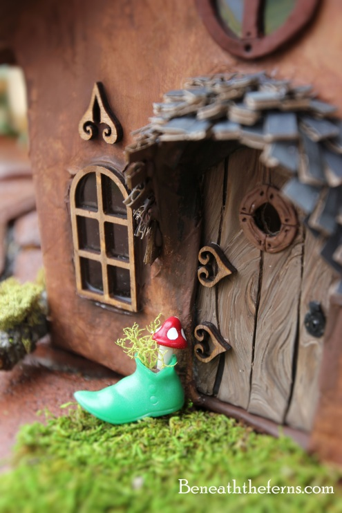 Fairy garden accessory elf boot with mushroom