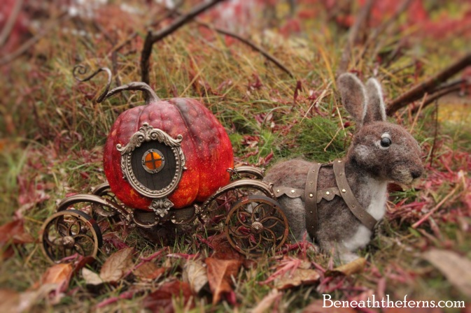 Fairy miniature pumpkin carriage sculpture by Beneath the Ferns