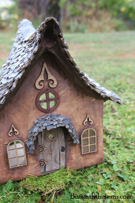 how to make a fairy house roof with shingles beneath the ferns. Black Bedroom Furniture Sets. Home Design Ideas