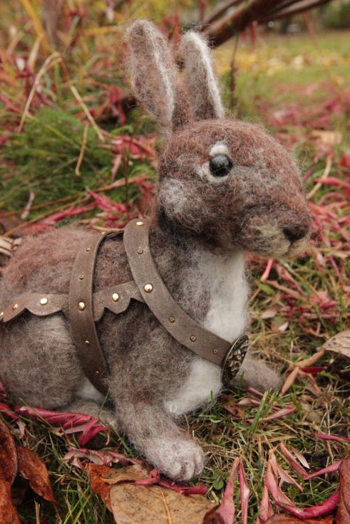 Needle felted rabbit by beneaththeferns.com