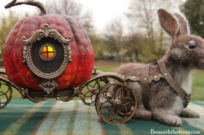 Needle felted rabbit pumpkin carriage sculpture by beneaththeferns