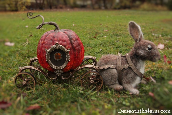 Needle felted rabbit with pumpkin carriage sculpture from Beneaththeferns